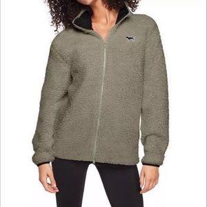 VS PINK Sherpa sage green zip jacket - Medium